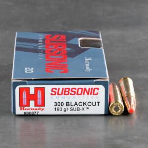 20rds - 300 AAC Blackout Hornady Subsonic 190gr. Sub-X Polymer Tip Ammo