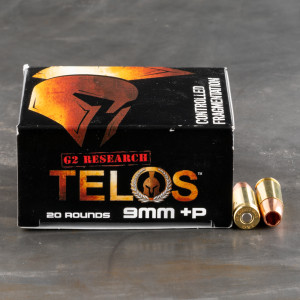 20rds – 9mm +P G2 Research Telos 92gr. SCHP Ammo