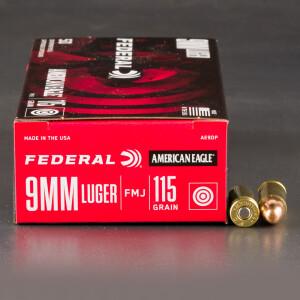 1000rds - 9mm Federal American Eagle 115gr. FMJ Ammo
