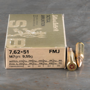 20rds – 7.62x51mm Sellier & Bellot 147gr. FMJ Ammo