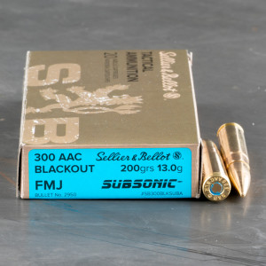 20rds – 300 AAC Blackout Sellier & Bellot Subsonic 200gr. FMJ Ammo