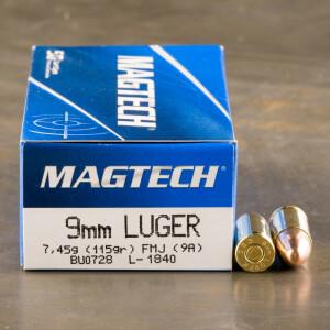 50rds - 9mm MAGTECH 115gr. FMJ Ammo