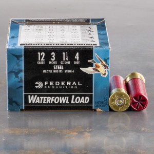 "250rds - 12 Ga. Federal Speed-Shok 3"" 1 1/4oz #4 Steel Shot Ammo"