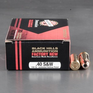20rds - 40 S&W Black Hills 155gr. Jacketed Hollow Point Ammo