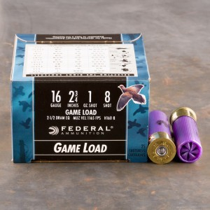 "25rds - 16 Gauge Federal Game-Shok 2 3/4"" 1oz. #8 Shot Ammo"