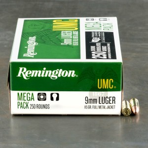 250rds - 9mm Remington UMC Megapack 115gr. FMJ Ammo