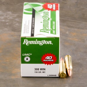 400rds - 308 Win Remington UMC 150gr. FMJ Value Pack Ammo