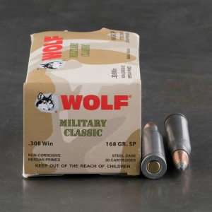 20rds - 308 Wolf Military Classic 168gr. SP Ammo