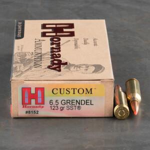 20rds - 6.5 Grendel Hornady Custom 123gr. SST Ammo
