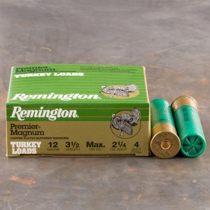 "10rds - 12 Gauge Remington Premier Magnum Turkey 3 1/2"" 2 1/4oz. #4 Shot Ammo"