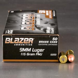 1000rds - 9mm Blazer Brass 115gr. FMJ Ammo