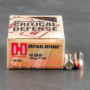 200rds - 40 S&W Hornady Critical Defense 165gr HP Ammo