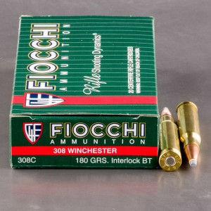20rds - 308 Win. Fiocchi 180gr. Interlock BT PSP Ammo