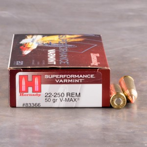 20rds – 22-250 Hornady Superformance 50gr. V-MAX Ammo