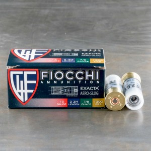 "250rds - 12 Gauge Fiocchi Low Recoil 2 3/4"" 7/8oz. Exacta Aero Slug Ammo"