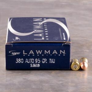 50rds - 380 Auto Speer Lawman 95gr. TMJ Ammo