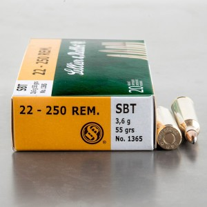 20rds – 22-250 Sellier & Bellot 55gr. Spitzer Boat Tail Ammo
