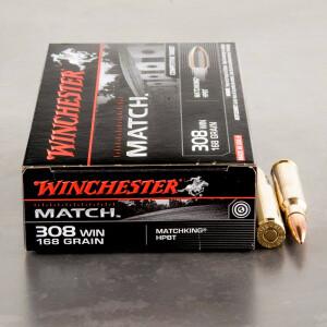 20rds - .308 Winchester Supreme 168gr. BTHP Match Ammo