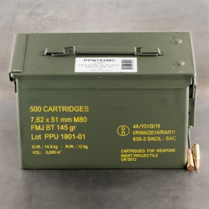 7.62x51mm M80 - 145 Grain FMJBT - Prvi Partizan Ammo Can - 500 Rounds