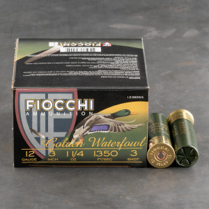"25rds - 12 Ga. Fiocchi Golden Waterfowl 3"" 1 1/4oz #3 Steel Shot"