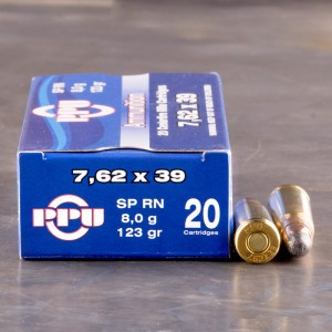20rds - 7.62x39 Prvi Partizan 123gr. Soft Point Round Nose Ammo