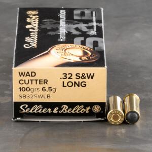 50rds – 32 S&W Long Sellier & Bellot 100gr. Lead Wadcutter Ammo
