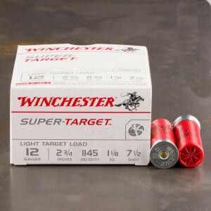 """250rds - 12 Gauge Winchester Super Target 2 3/4"""" 1 1/8oz. 2 3/4 Dram #7 1/2 Shot Ammo"""