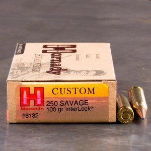 20rds – 250 Savage Hornady Custom 100gr. Interlock SP Ammo