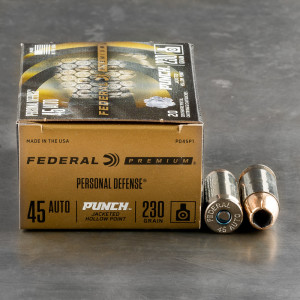 20rds – 45 ACP Federal Punch 230gr. JHP Ammo