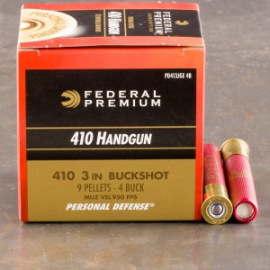 "20rds - 410 Gauge Federal Personal Defense 3"" #4 Buckshot Ammo"