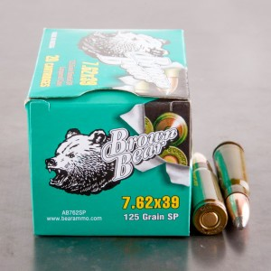 20rds - 7.62x39 Brown Bear 125gr. Lacquered Soft Point Ammo