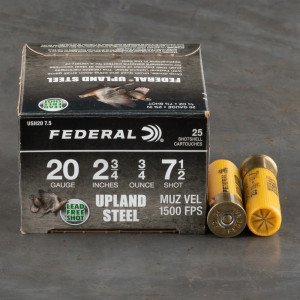 "25rds – 20 Gauge Federal Upland Steel 2-3/4"" 3/4oz. #7.5 Shot Ammo"
