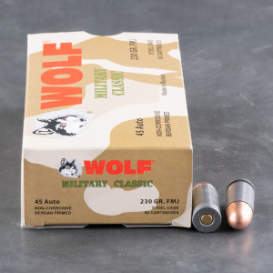 50rds – 45 ACP Wolf Military Classic 230gr. FMJ Ammo