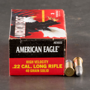 50rds - 22LR Federal American Eagle 40gr. HV Solid Point Ammo
