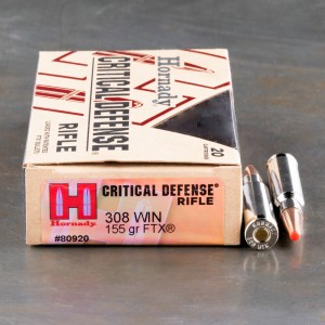 20rds - 308 Win Hornady Critical Defense 155gr. FTX Ammo