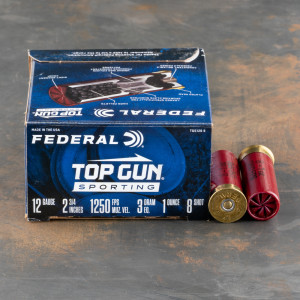 "250rds – 12 Gauge Federal Top Gun Sporting 2-3/4"" 1oz. #8 Shot Ammo"