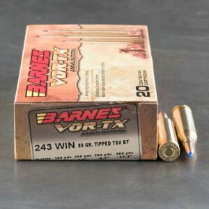 20rds – 243 Win Barnes VOR-TX 80gr. TTSX BT Ammo