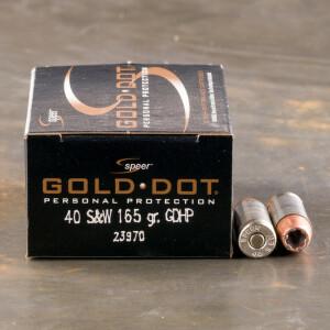 20rds – 40 S&W Speer Gold Dot 165gr. JHP Ammo