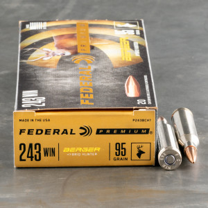 20rds – 243 Win Federal 95gr. Berger Hybrid Hunter Ammo