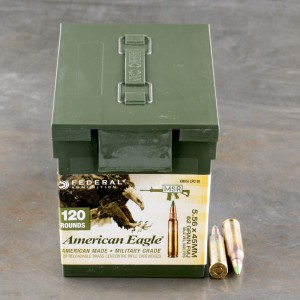 120rds - 5.56 Federal American Eagle XM855 62gr. FMJ Penetrator Ammo in Mini Ammo Can