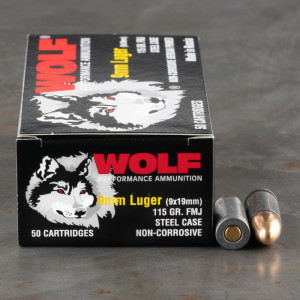 1000rds – 9mm Wolf 115gr. FMJ Ammo