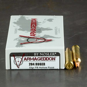 20rds - 204 Ruger Nosler Varmageddon 32gr. Flat Base Hollow Point Ammo