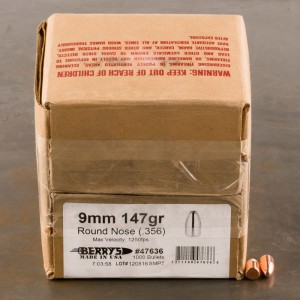 "1000pcs - 9mm .356"" Dia Berry's 147gr. Plated RN Bullets"