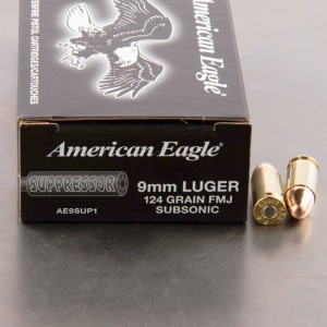 500rds - 9mm Luger Federal American Eagle Suppressor 124gr. FMJ Subsonic Ammo