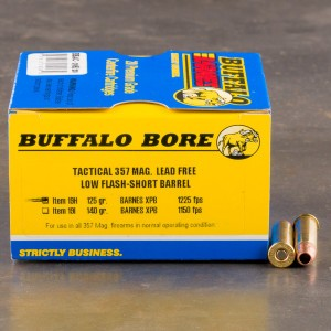 20rds - 357 Mag Buffalo Bore 125gr. Barnes XPB HP Low Flash Short Barrel Ammo