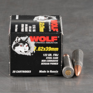 1000rds - 7.62x39 Wolf 122gr. FMJ Ammo