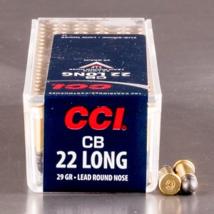 100rds - 22 CB Long CCI 29gr. Lead Round Nose Ammo