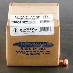 "500pcs - 45 ACP .452"" Dia Berry's 230gr. Plated RN Bullets"