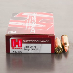 20rds - 243 Win. Hornady 80gr GMX Superformance Ammo