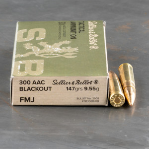 20rds – 300 AAC BLACKOUT Sellier & Bellot 147gr. FMJ Ammo